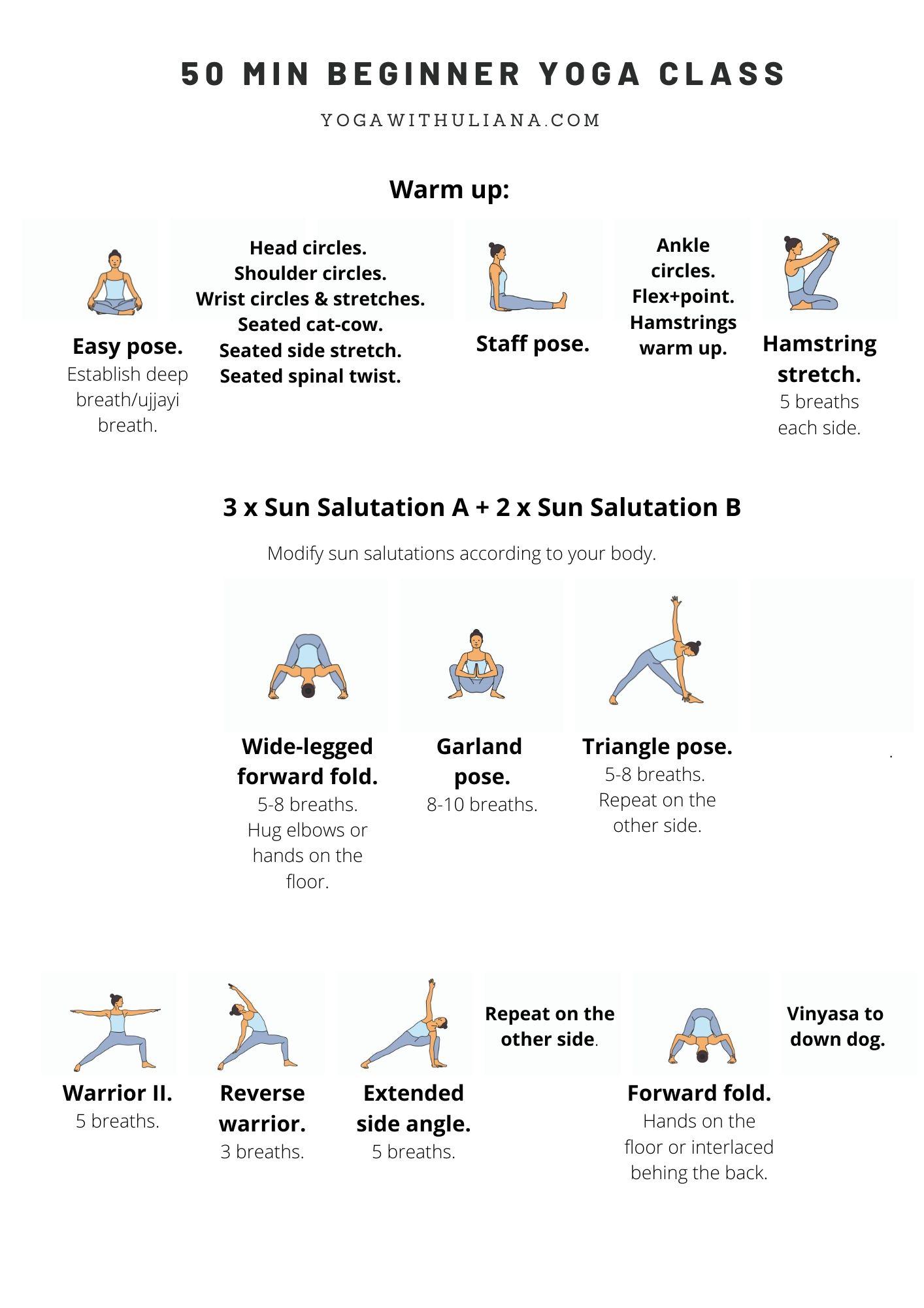 50 min beginner yoga class printable