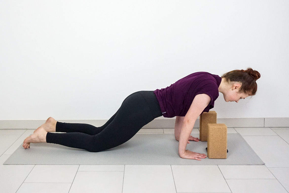 chaturanga with knees down for beginners