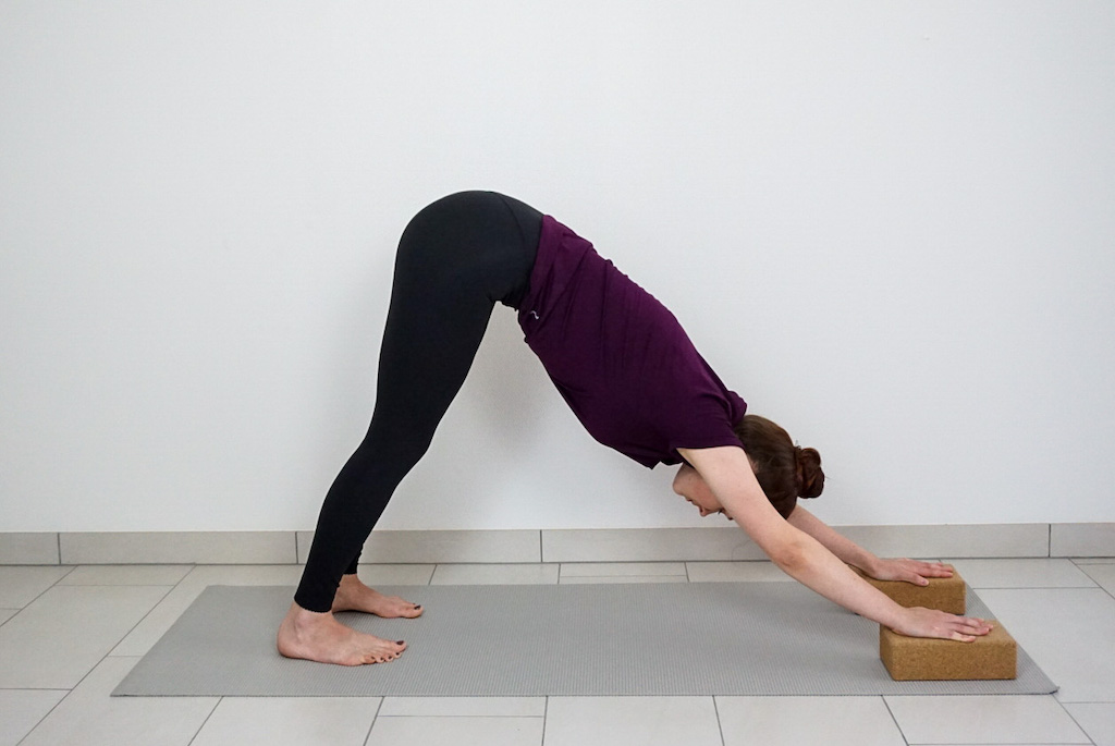 downward facing dog for beginners with yoga blocks