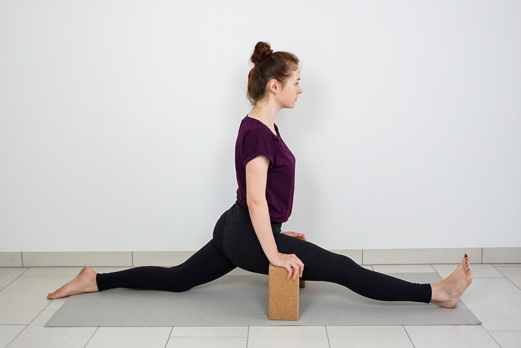 front split for beginners with yoga blocks