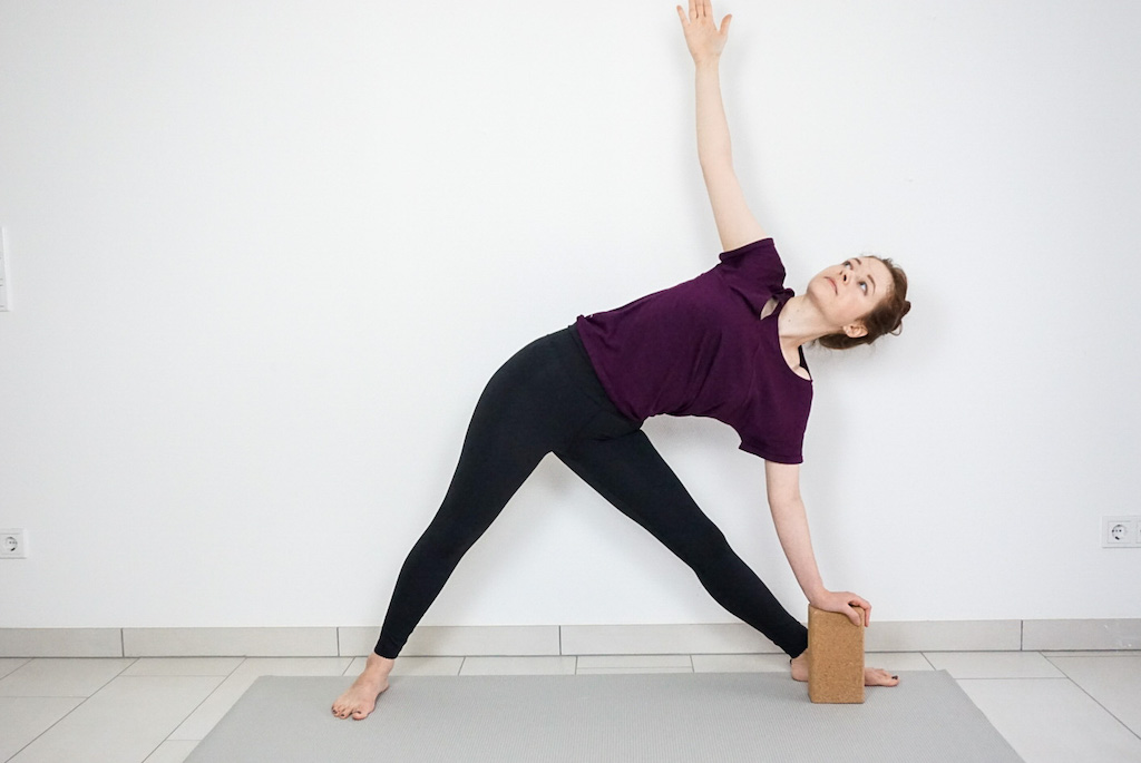 triangle pose with yoga block