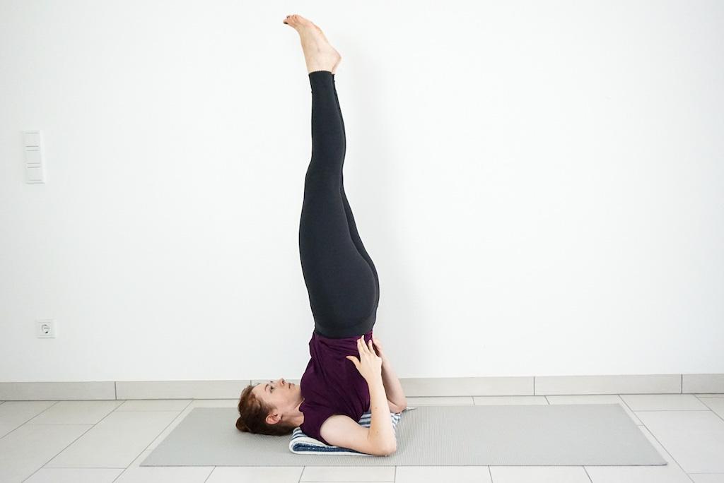 Shoulderstand with yoga blanket