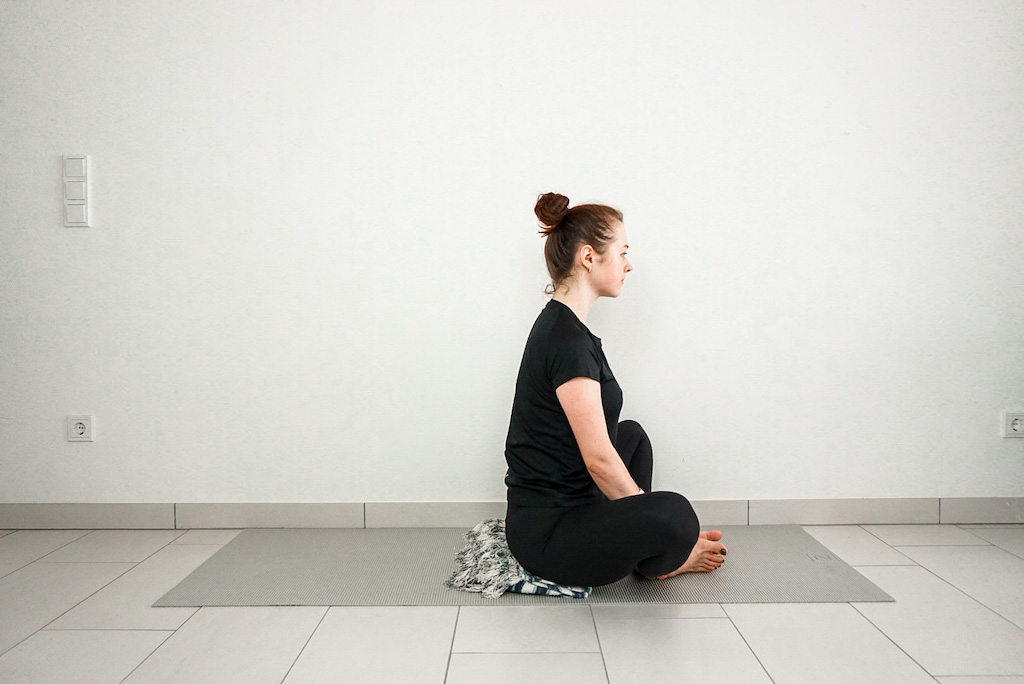 bound angle pose with blanket for beginners