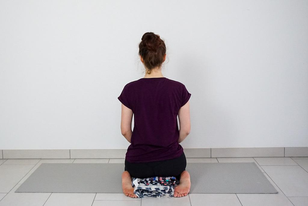 yoga blanket in hero pose