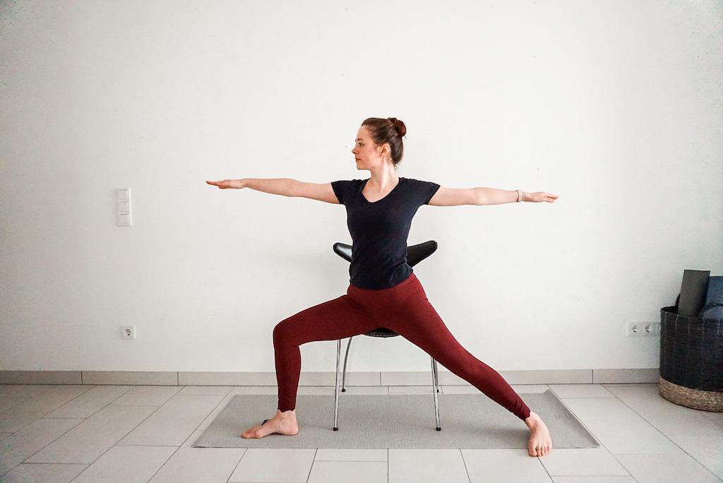 warrior pose chair yoga