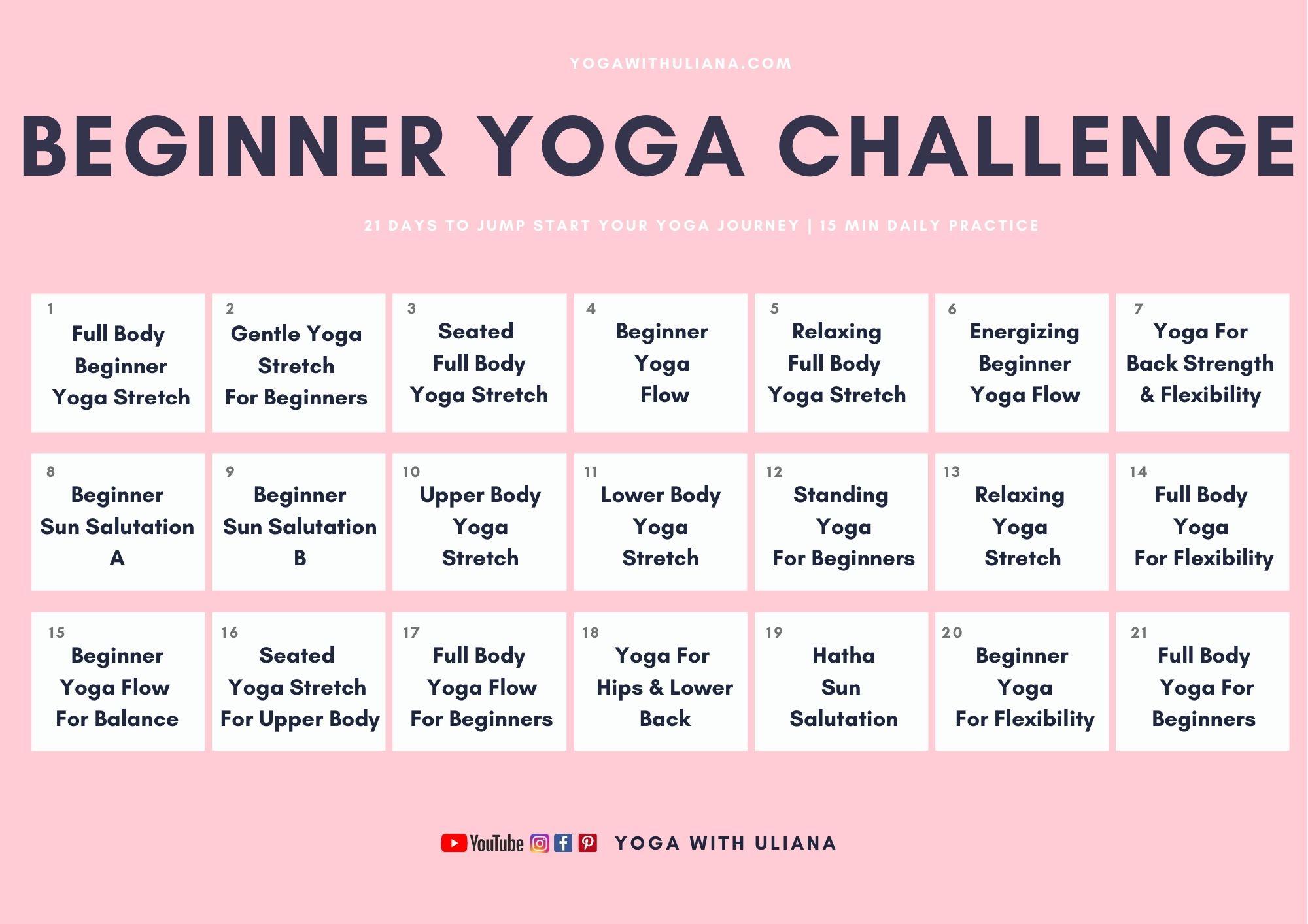 21 Day Beginner Yoga Challenge Calendar Yoga with Uliana