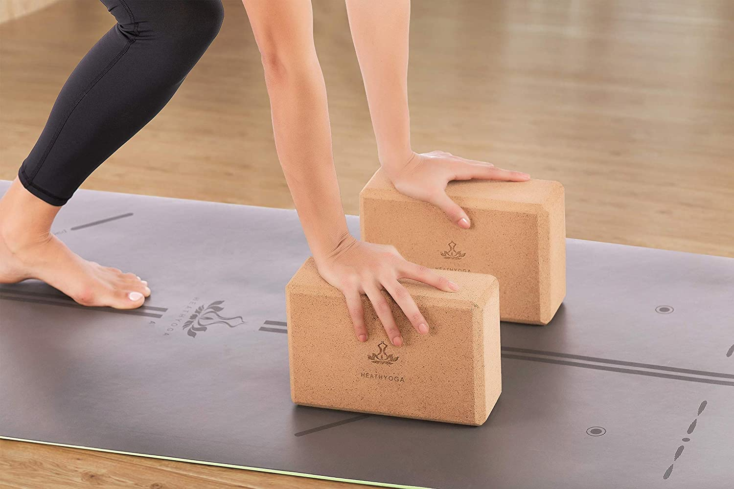 2 cork yoga blocks